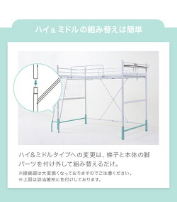 ロフトベッド送料無料2段ベッド二段ベッドはしごパイプパイプベッドシステムベッドベッドベッドフレームおしゃれシングル高さ調整高さ調節ミドルタイプハイタイプ宮付き宮棚収納コンセント