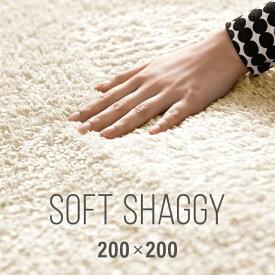 ラグ シャギーラグ 送料無料 rug 200×200 マイクロファイバーシャギー 北欧 Z4糸 ラグマット シャギー 滑り止め カーペット グリーン 洗える ホットカーペット 冬用 夏用