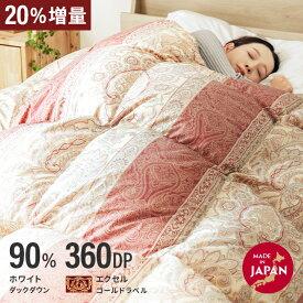 羽毛布団 シングル 日本製 パワーアップ加工 抗菌消臭加工 防ダニ 360dp以上 ホワイトマザーダックダウン 90% エクセルゴールドラベル 3D立体キルト 清潔 安心
