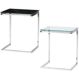 【送料無料】サイドテーブル (BK/CL) ガラス テーブル ガラステーブル インテリア 家具 花台 観葉植物 カフェテーブル デザイン ベッドサイド ベットサイド ソファサイド ソファーサイド 机