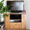 【送料無料】90 コーナーテレビ台 高さ70cmのハイタイプ 角置きができる、コーナーテレビボード リビング・ダイニング・寝室のテレビチェストに◎ ビンテージ調の木目×ブラックがおしゃれ 組立不要の完