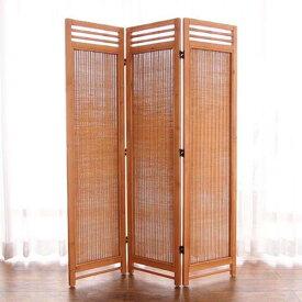 【送料無料】 アジアン スクリーン 3連パーテーション ナチュラルカラー ラタン 籐 天然木 リゾート