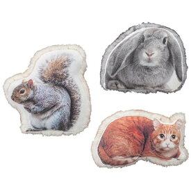 【送料無料】クッション (ウサギ/リス/ネコ) かわいい動物型のクッション アニマルクッション 動物クッション 飾ってインテリアにも お子さまへのプレゼントにも◎ ラビット キャット インテリア雑貨 雑貨