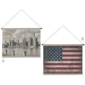 【送料無料】タペストリー (都市/USA国旗) 86×63cm 壁掛け 棒付き 壁掛け可能 お部屋や美容院、カフェ、ショップに◎ ニューヨーク アメリカ 国旗 レトロ/アンティーク/ヴィンテージ/カフェ