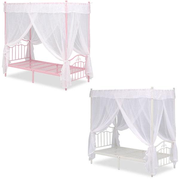 【送料無料】天蓋付きベッド (ピンク/ホワイト) 天蓋とカーテン付き シングルサイズ お姫様気分を味わえるプリンセスベッド 姫系/プリンセス/ガーリー/ロマンチック