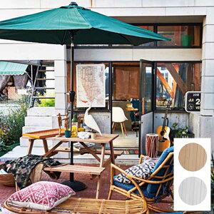 【送料無料】75 テーブル&ベンチセット (LBR/WH) テーブルにはパラソル用の穴付き 庭やテラス、バルコニーに テーブル付きのベンチ アウトドア・ガーデン ライトブラウン ホワイト 茶 白 幅7