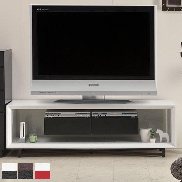 【送料無料】160 テレビボード (WH&BK/BR&BK/WH&RD) テレビ台 ホワイトはエナメル鏡面仕上げ 脚部:アイアン 配線穴付き アジャスター付き ホワイト&ブラック/レッド ブラウン&ブラック モダン/スタ