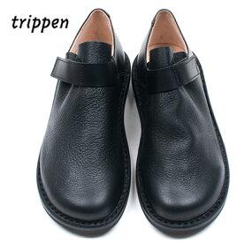 Trippenトリッペン【trippen 正規販売店】エルクレザー ベロクロ スリッポン ストラップシューズカラー:BLK-BK/Beuter black