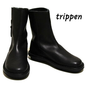 Trippenトリッペン【trippen 正規販売店】 DEER-WAW サイドジップ レザーショートブーツカラー:BK-BK-BK/black