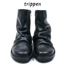 Trippenトリッペン【trippen 正規販売店】PLEATS-BUF サイドジッパーショートブーツ プリーツカラー:BLK-BK/black
