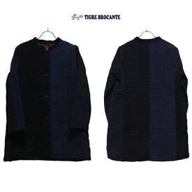 TIGRE BROCANTEティグルブロカンテ藍の古布スタンドカラーハーフコートカラー:Indigoサイズ:F(Ladiesワンサイズ)