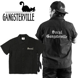 GANGSTERVILLE/ギャングスタービル by GLADHAND - SOCAL - S/S SLICK SHIRTS - ロゴ刺繍半袖シャンブレーシャツ本品はポイント+1倍です!