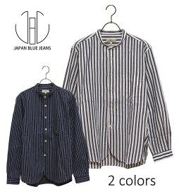 SALE・50%OFF【セール】JAPAN BLUE JEANS(ジャパンブルージーンズ)ストライプ柄ノーカラーシャツ【正規取扱品】本品はポイント+1倍です!