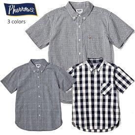 PHERROW'S(PHERROWS)/フェローズ綿麻混紡生地半袖ボタンダウンシャツ※送料・代引手数料無料※