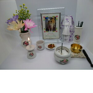 ペット用 仏具 一式 7点 セット(ブーケ)ペット供養 仏具セット ミニ ペットの供養 おりん ろうそく立て 花立 香炉(写真立て、お花、骨壺はセットに含みません。) 犬 猫 送料無料