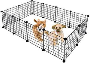 [Qorfran]ペットフェンス 脱走防止 犬ゲージ 簡易サークル 組立簡単 組み合わせ自由 35cm×35cm鉄製正方形メッシュ屋内/屋外ガードレールに適した折りたたみ可能な複数の組み合わせ単層(12枚セ