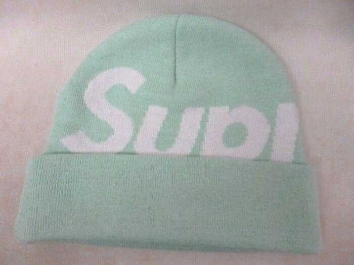 Supreme シュプリーム 16AW Big Logo Beanie ビックロゴ ビーニー ニット帽 ライトグリーン 【中古】【送料無料】