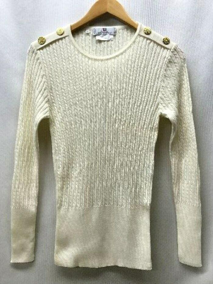 GIVENCHY ジバンシィ 細ケーブル編み 金ボタン装飾 クルーネック ウール ニット セーター 白 サイズ:M 【中古】【送料無料】