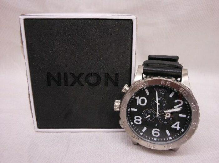 【中古】【NIXON】≪ニクソン THE 51-30 CHRONO Leather 腕時計 黒×銀≫[状態:A]