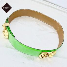 ◆HERMES エルメス コリエドシアン ベルト カーフ グリーン/ゴールド 黄緑 ライトグリーン 〇U刻印 ヴィンテージ vintage 正規品 刻印あり