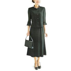 【送料無料】【代引無料】【Margurite Roman】サマーフォーマルブラック・スーツ 米沢織【9号・11号・13号】【日本製】30代 40代 50代 60代のミセス・シニアファッション