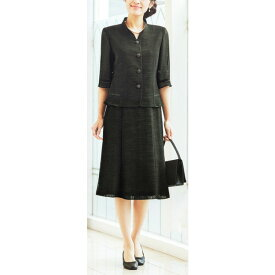 【送料無料】【代引無料】【Margurite Roman】サマーフォーマルブラック・スーツ ソアロン【9号・11号・13号】【日本製】30代 40代 50代 60代のミセス・シニアファッション