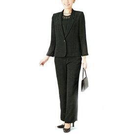 【送料無料】【代引無料】【Margurite Roman】サマーフォーマルブラック・パンツスリーピース【11号・13号・15号・17号】【日本製】30代 40代 50代 60代のミセス・シニアファッション