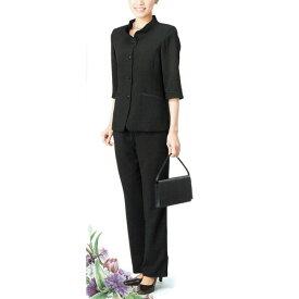 【送料無料】【代引無料】【Margurite Roman】サマーフォーマルブラック・パンツスーツ【9号・11号・13号】【日本製】30代 40代 50代 60代のミセス・シニアファッション