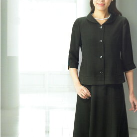 【送料無料】【代引無料】【Margurite Roman】サマーフォーマルブラック・スーツ【9号・11号・13号】【日本製】30代 40代 50代 60代のミセス・シニアファッション