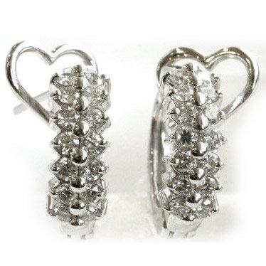K18WG ダイヤモンド フープ ピアスピアス 金属アレルギー レディース シンプル 18金 0.5ct K18 k18 18K 18k ホワイトゴールド 大人 女性