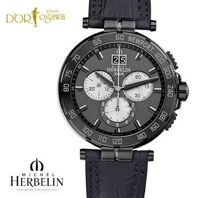 《店頭在庫あり》【MICHEL HERBELIN】Newport Chronoニューポート クロノグラフ〜クォーツ腕時計《クーポン・セール割引対象外》【36656/GN33】【ミッシェルエルブラン】