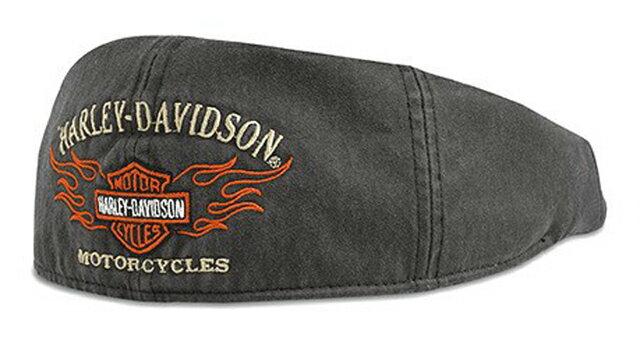 【純正品】HARLEY-DAVIDSON◆ハーレーダビッドソン・Mens Flame Graphic Grey Ivy Cap・メンズ フレイムグラフィック グレイ アイビーキャップ・ハンチング:99537-11VM