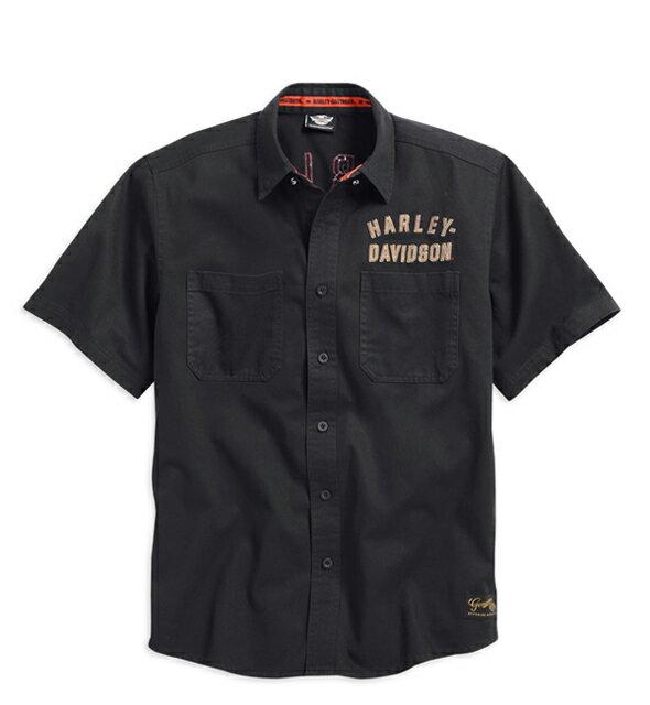 【純正品】HARLEY-DAVIDSON◆ハーレーダビッドソン・Men's #1 Woven Shirt・#1ツョートスリーブシャツ・半袖ボタンシャツ・ワークシャツ・ガレージシャツ:99036-15VM