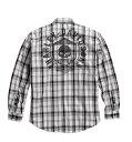 【純正品】HARLEY-DAVIDSON◆ハーレーダビッドソン・Skull Shield Plaid Shirt・メンズ スカル シールドプラッドシャツ:990...