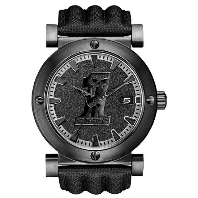 ハレーダビッドソン正規品【Harley Davidson by BULOVA】Men's Bulova Black #1 Racing Skull Wrist Watch・ダークカスタムをイメージした腕時計(アクセサリー・ウォッチ・腕時計):78B131