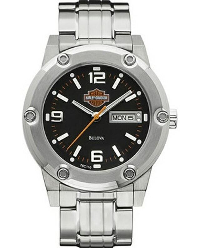 ハレーダビッドソン正規品【Harley Davidson by BULOVA】Men's Bulova Watch. Matte Black Dial★スタンダードなステンレスに、マッドブラックのダイヤル面が際立ちます★76C110(アクセサリー・ウォッチ・腕時計)