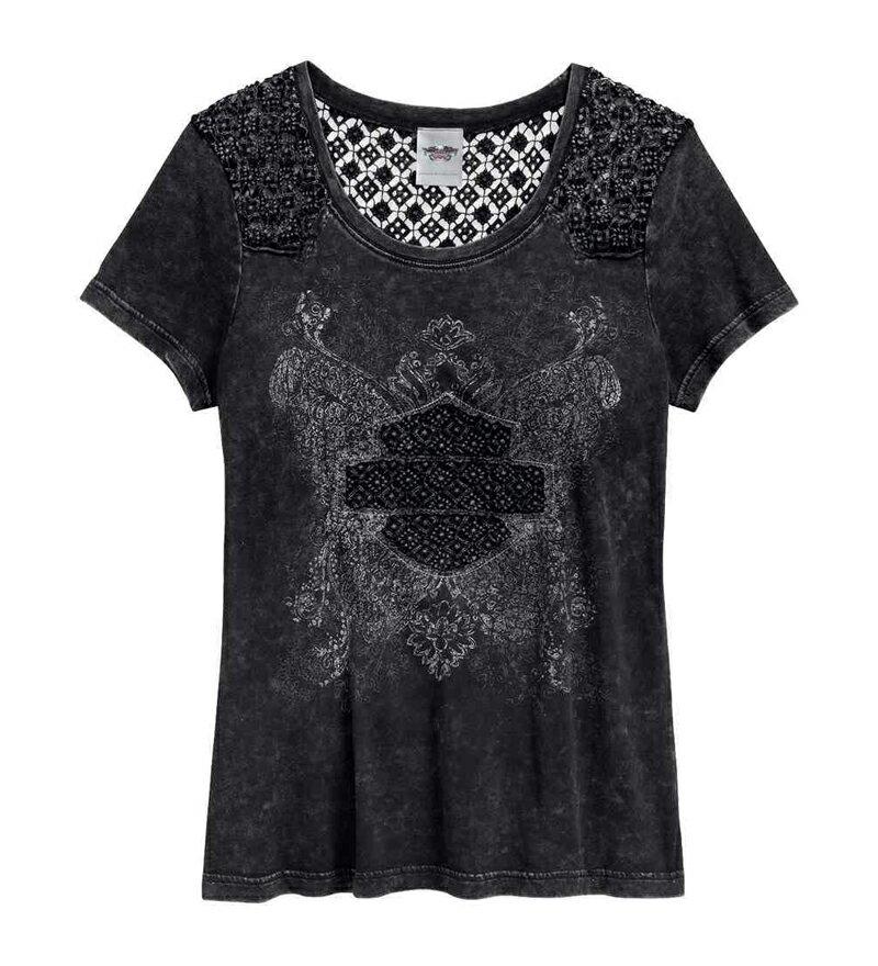 【純正品】HARLEY-DAVIDSON◆ハーレーダビッドソン【数量限定】Women's Crochet Inset Tee・レディース クロシェ インセト Tシャツ・半袖・Tシャツ・ハーレーTシャツ・カットソー・トップス:96148-17VW
