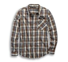 【純正品】HARLEY-DAVIDSON◆ハーレーダビッドソン・Men's Kick Ass Iron Plaid Slim Fit Shirt・キックアス アイロン チェック スリムフィットシャツ・長袖ボタンシャツ・ハーレー チェックシャツ:96635-19VM