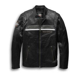 【純正品】HARLEY-DAVIDSON◆ハーレーダビッドソン・Men's Llano Perforated Leather Jacket with Coolcore Technology・メンズ パンチング レザージャケット クールコアテクノロジー・レザージャケット・シングルライダース・革ジャン:97038-19VM