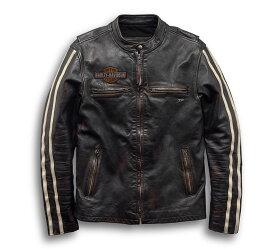 【純正品】HARLEY-DAVIDSON◆ハーレーダビッドソン・Men's Sleeve Stripe Leather Jacket・メンズ スリーブ ストライプ レザージャケット・革ジャン・牛革・ハーレージャケット:97048-19VM