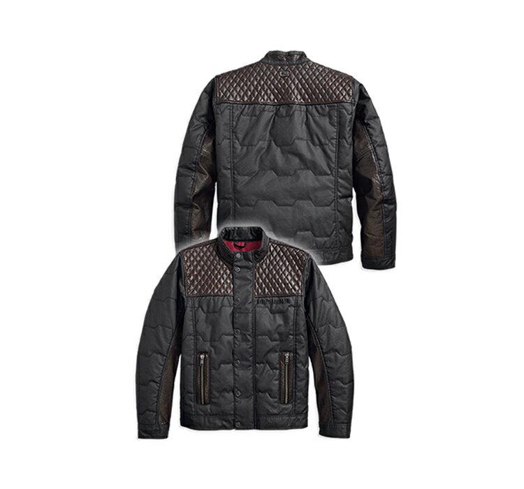 【純正品】HARLEY-DAVIDSON◆ハーレーダビッドソン【数量限定】Men's Quilted Leather Accent Jacket・メンズ キルティング レザーアクセントジャケット・軽量で人気のカジュアルジャケット断熱素材:97441-18VM