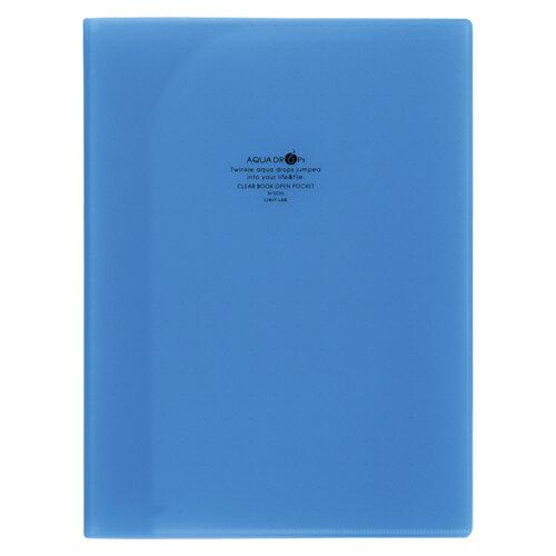 リヒトラブ AQUA DROPs(アクアドロップス) クリヤーブック(オープンポケット) A4判タテ型/A3判ヨコ型兼用(6ポケット)(青)