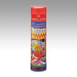 ファーバーカステル水彩色鉛筆 丸缶 24色