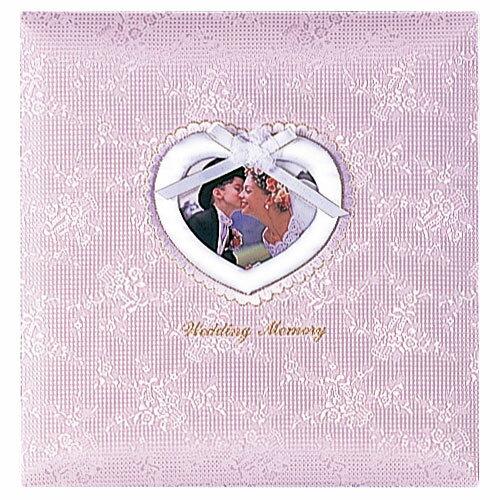 ナカバヤシ フエルアルバム 婚礼用 ウエディングメモリー 布表紙 オルゴール付 L判 10枚(ピンク)