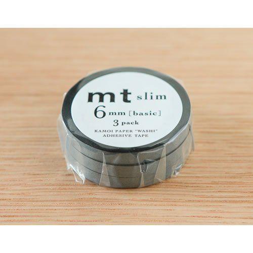 カモ井加工紙 mt slim L 6mm 3巻セット マスキングテープ(マットグレー)