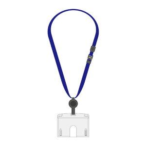 全商品ポイント2〜10倍9日0時より/ オープン 吊り下げ名札 リール式 ハードタイプ 上からスライド式 ハードID カード/ ヨコ名刺サイズ(青)