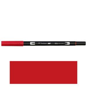 トンボ鉛筆 デュアルブラッシュペン AB−T 856 ABT 水彩 スケッチ 画材 カリグラフィ イラスト ツインタイプ(チャイニーズレッド)