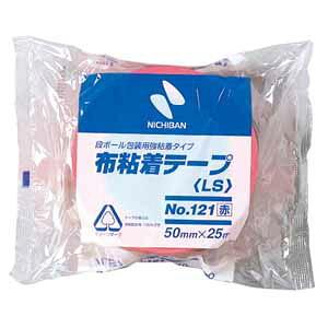 代引不可 ニチバン 布粘着テープ No.121 中軽量物封かん用 No.121(アカ)