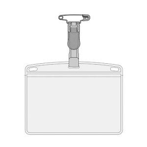 オープン タッグ名札 プラクリップ PET プレート ハードタイプ(硬質) 上から出し入れ ヨコ名刺サイズ(灰)