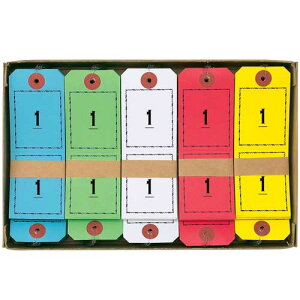 オープン 連番荷札 1〜100(青,赤,黄,緑,白,各1組)